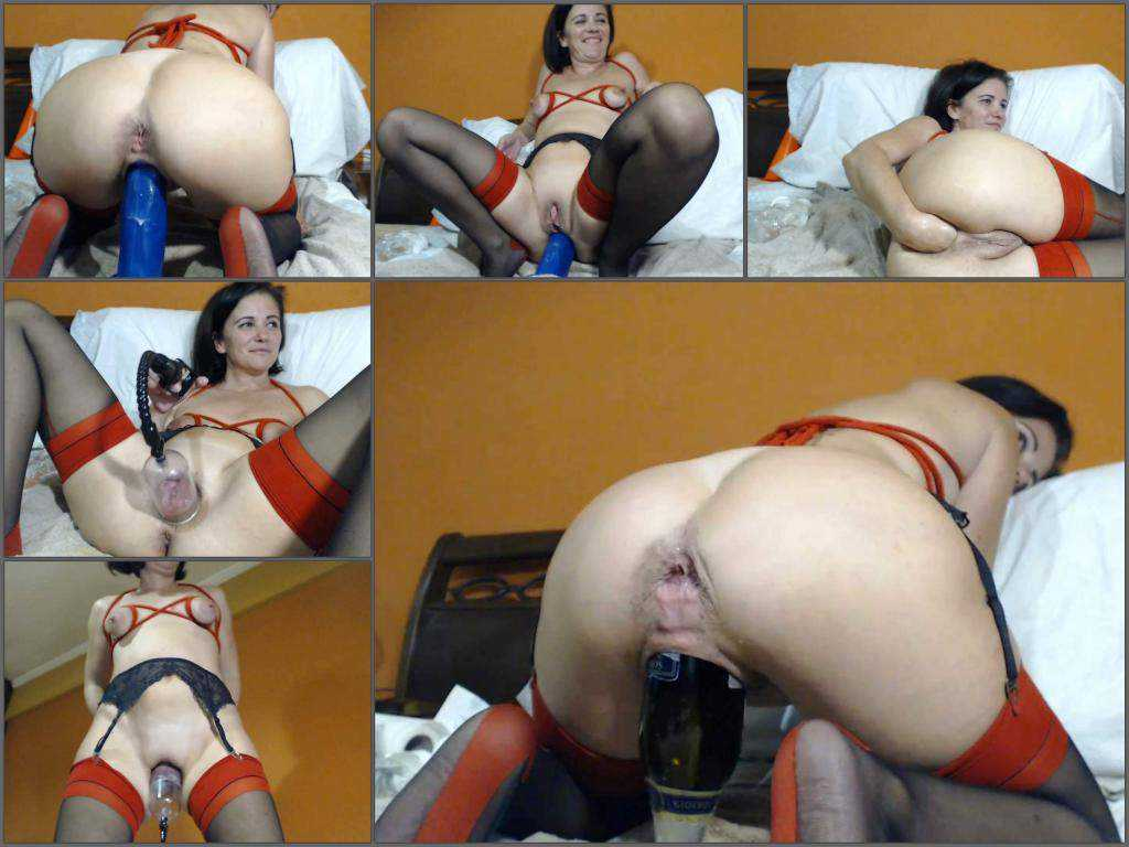 Bottle penetration – Giant champagne bottle in pussy and self dildo sex with kinkyvivian