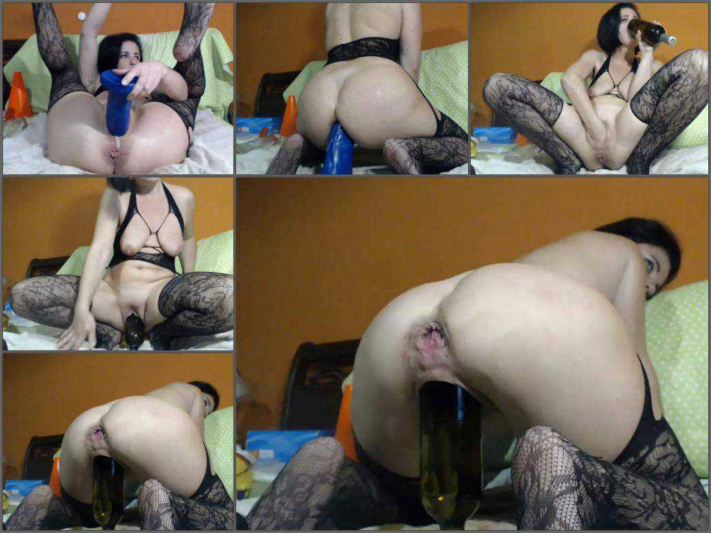 Pussy fisting – Hairy MILF with saggy tits Kinkyvivian wine bottle riding and auto gaping anal show too
