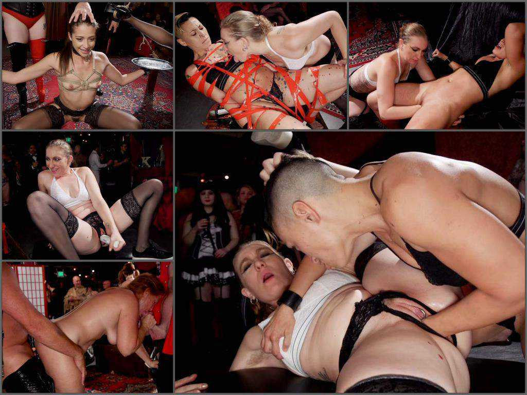 Bondage – Aiden Starr, Krissy Lynn and Avi Love public fisting domination