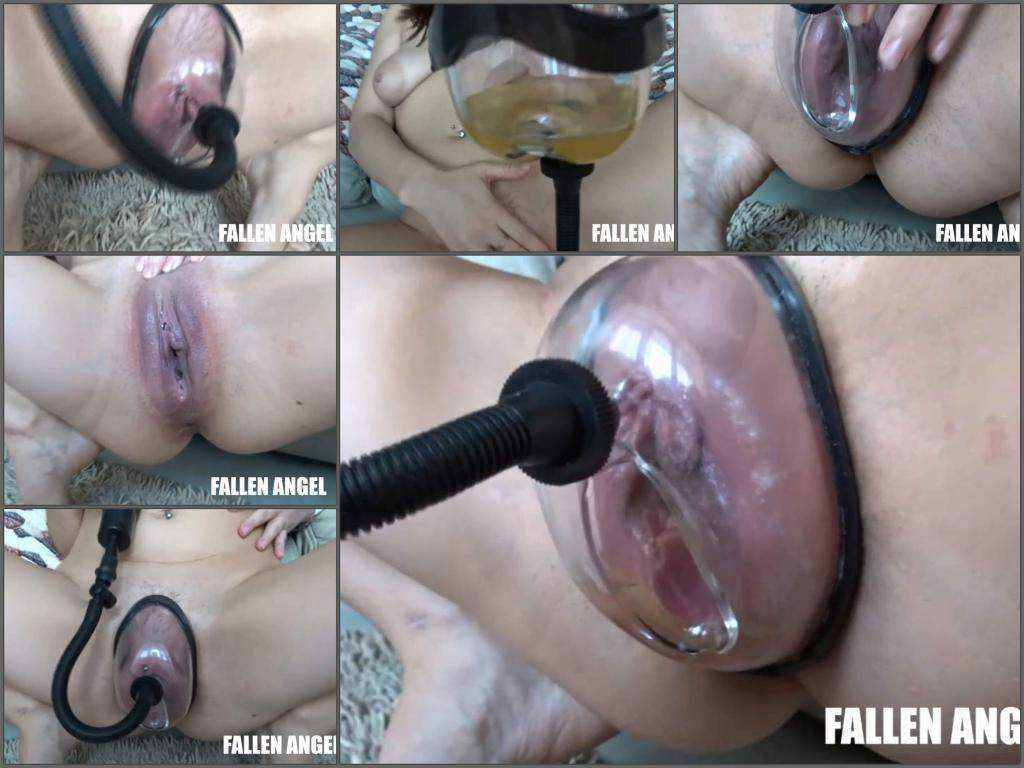 Peeing fetish – Fallen Angel peeing closeup during vaginal pump