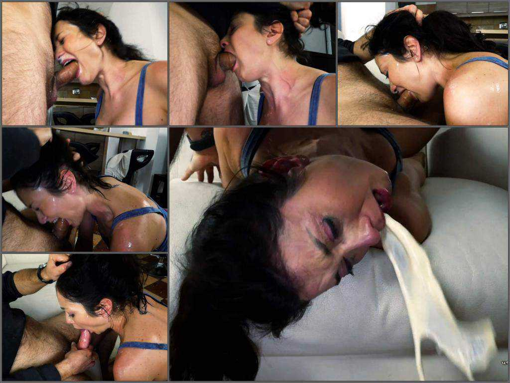 Deepthroat – Unique amateur deepthroat fuck training to vomit with dirty brunette