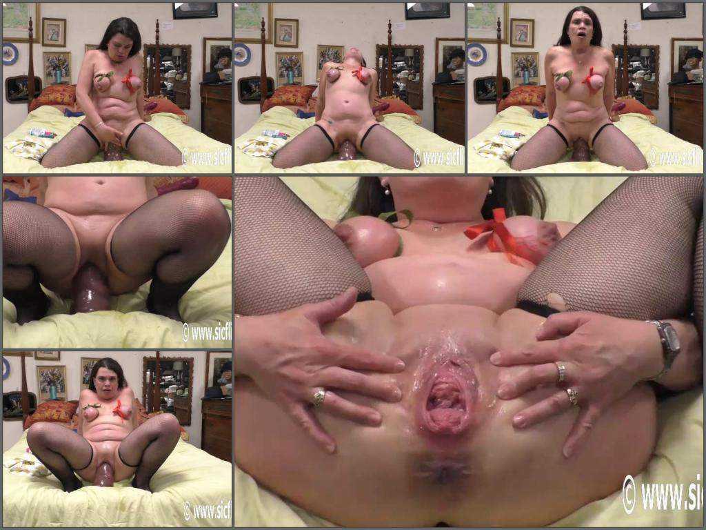 Rope bondage – Hottabbycat monster dildo vaginal penetration with hot horny milf