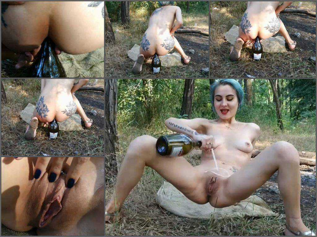 Bottle penetration – Ukrainian dirty skinny girl Forest Whore bottle rides anal and vaginal