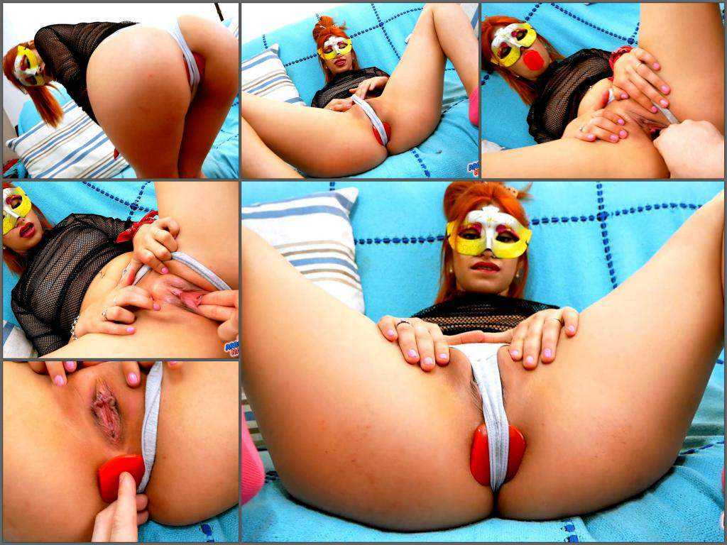 FullHD porn – Masked redhead teen Mila analize me daddy