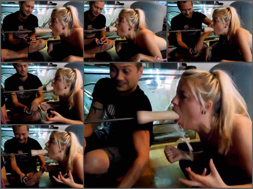 Deepthroat – Dirty blonde PervyPixie vomit during fucking machine deepthroat driller