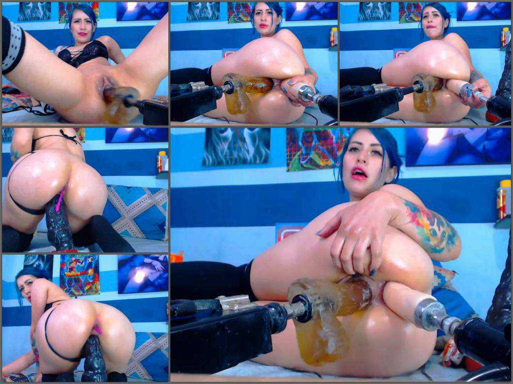 Colossal dildo – Karlakole double fucking machine driller ass and pussy holes