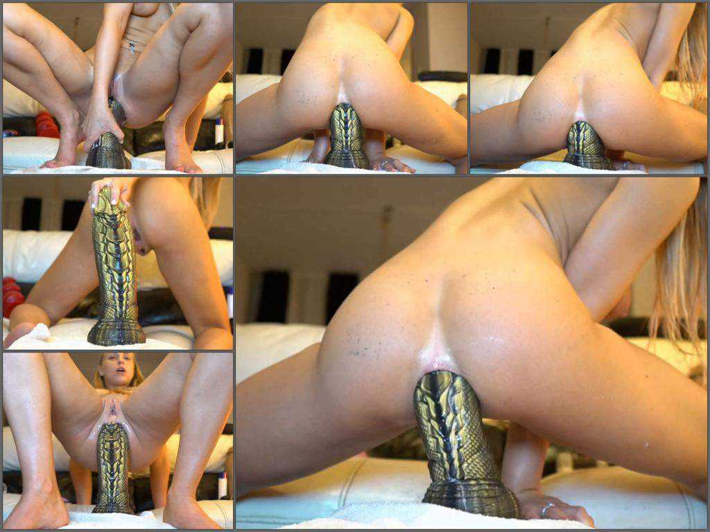 Booty girl – Really giant cobra dragon dildo fully insertion in ass with siswet19