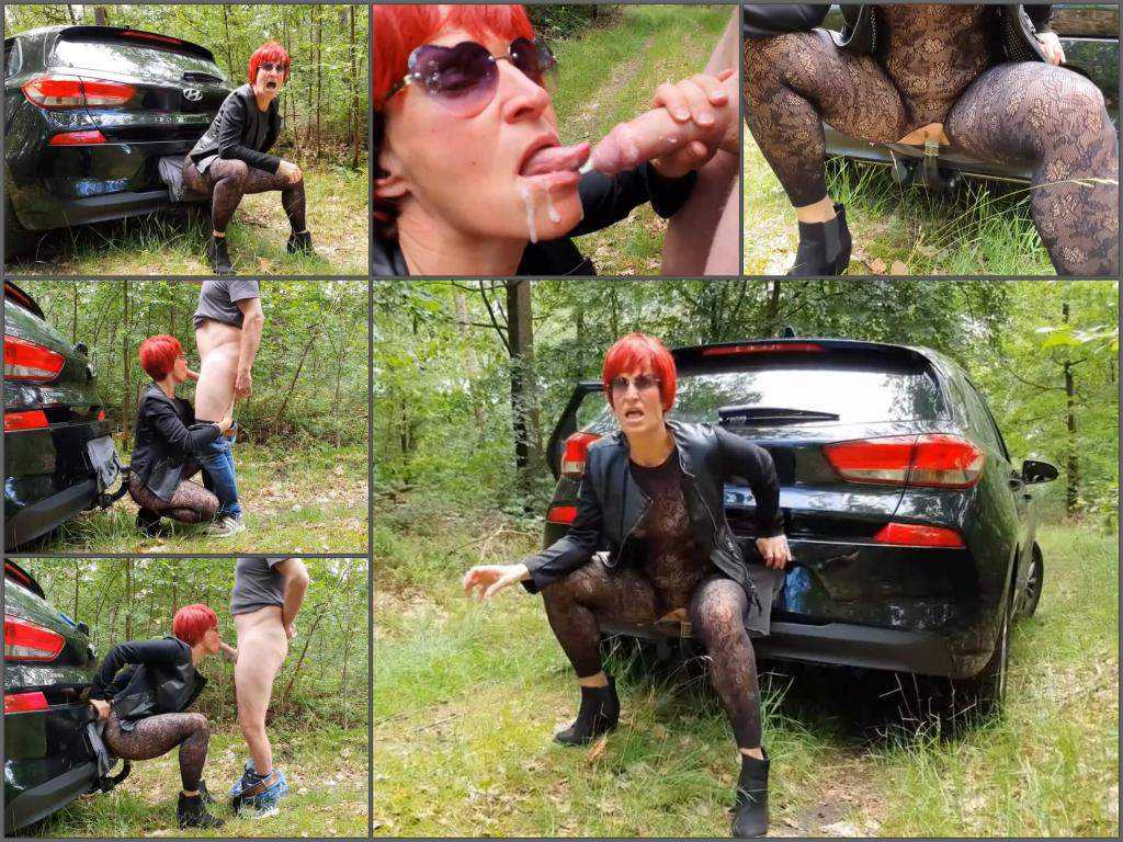 Outdoor – Redhead mature outdoor riding on a hitch her car