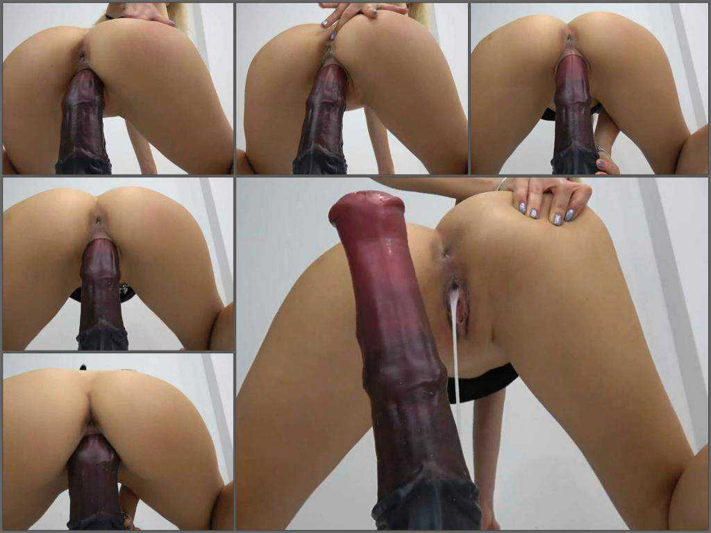 Creampie vaginal – Cute camgirl rides on a huge horse dildo deeply vaginal