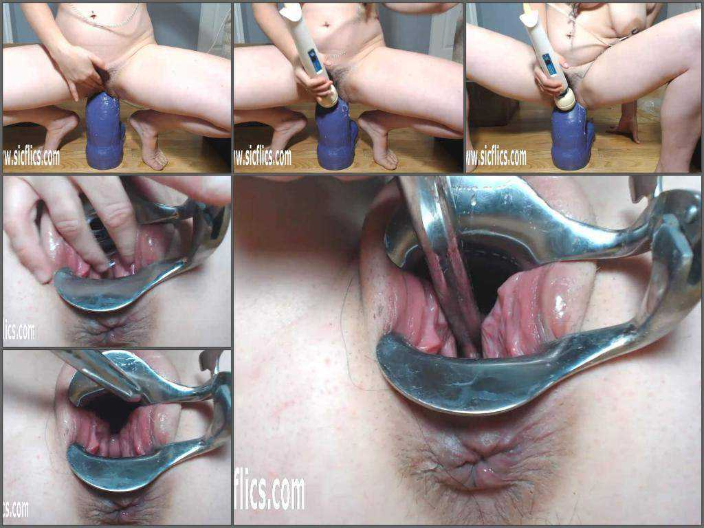 Speculum – Petitefistingqueen rides on a really big bad dragon dildo and speculum examination