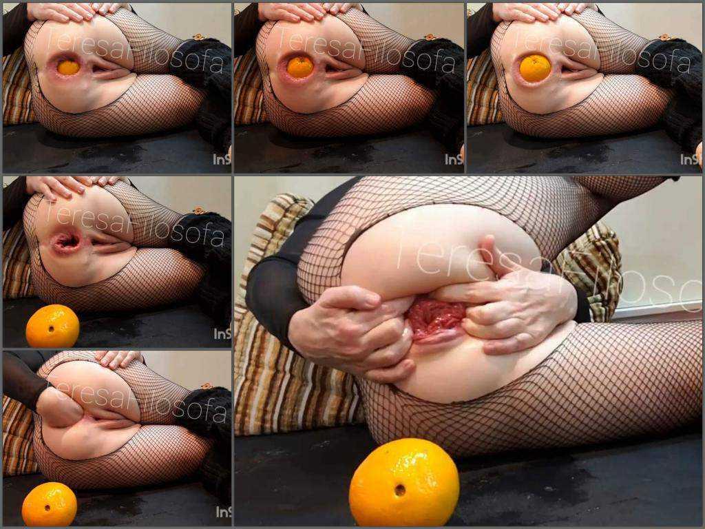 Anal prolapse – TeresaFilosofa giant orange and fist insertion in ruined anal rosebutt