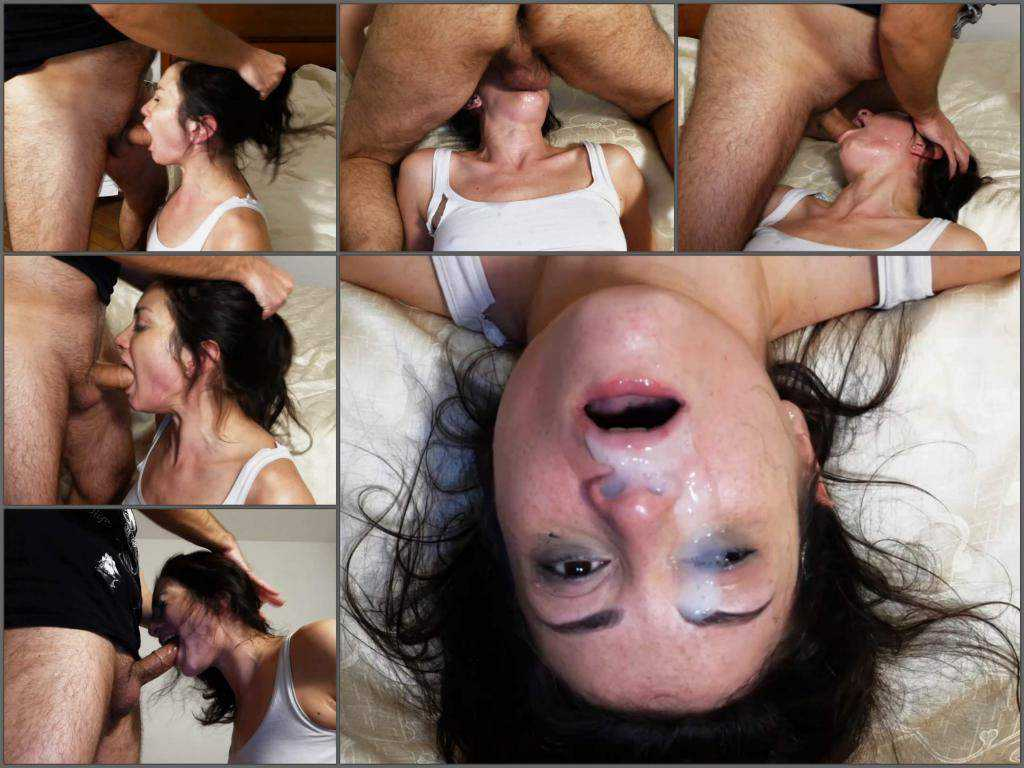 Facial – Cumshot on face after rough deepthroat fuck