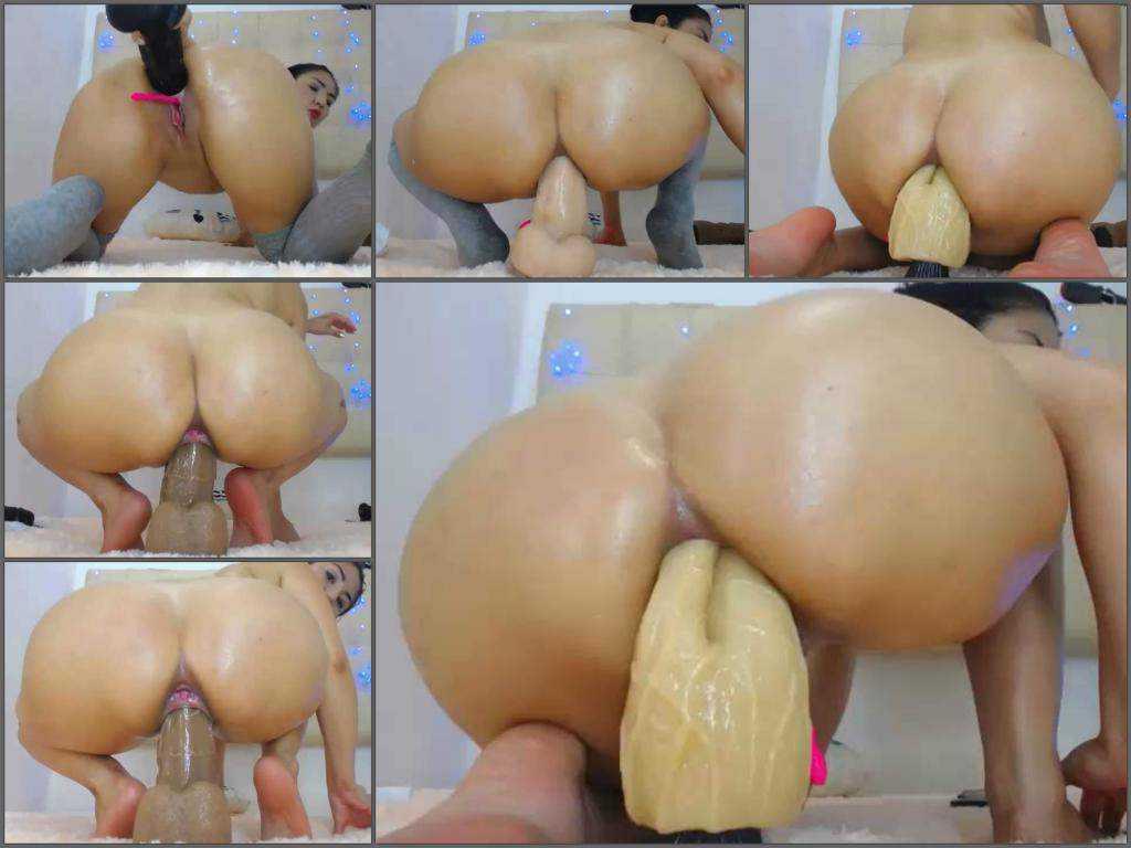Dildo porn – Webcam big ass latin girl Dirtyxnatural double huge dildo anal riding vaginal and anal