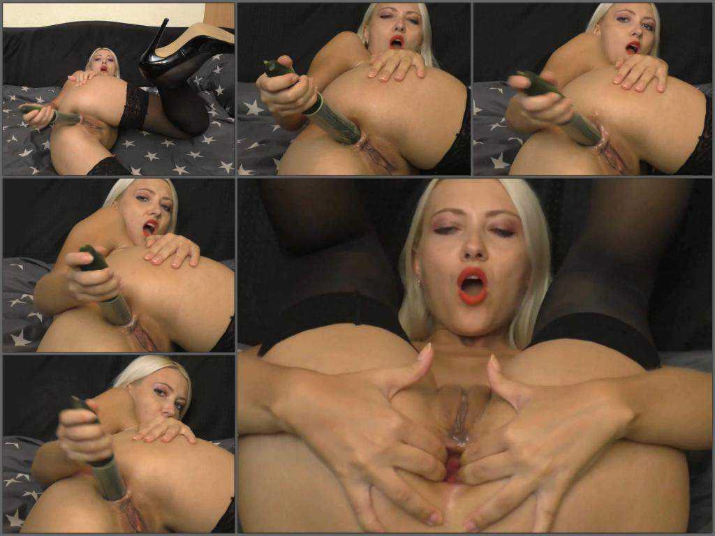 Anal insertion – Webcam blonde Helena Moeller cucumber self penetration in anal gape