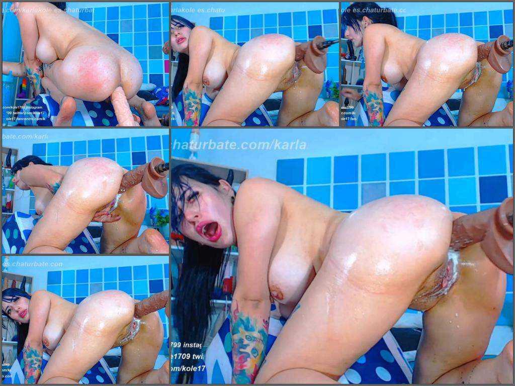 Dildo anal – Dirty busty Karlakole fucking machine and dildo anal driller