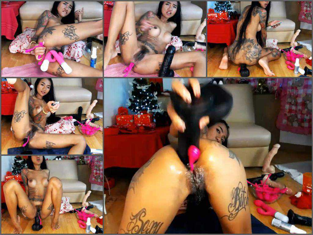 Gaping asshole – Asian hairy camgirl Asianqueen93 insertion BBC dildo deeply in asshole