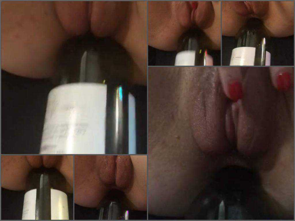 Amateur – My horny wife gets wine bottle in her anus