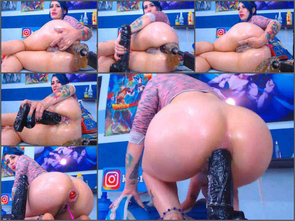 Huge dildo – Naked big ass bluehead teen Karlakole self fucking machine, ball and BBC dildo anal fuck