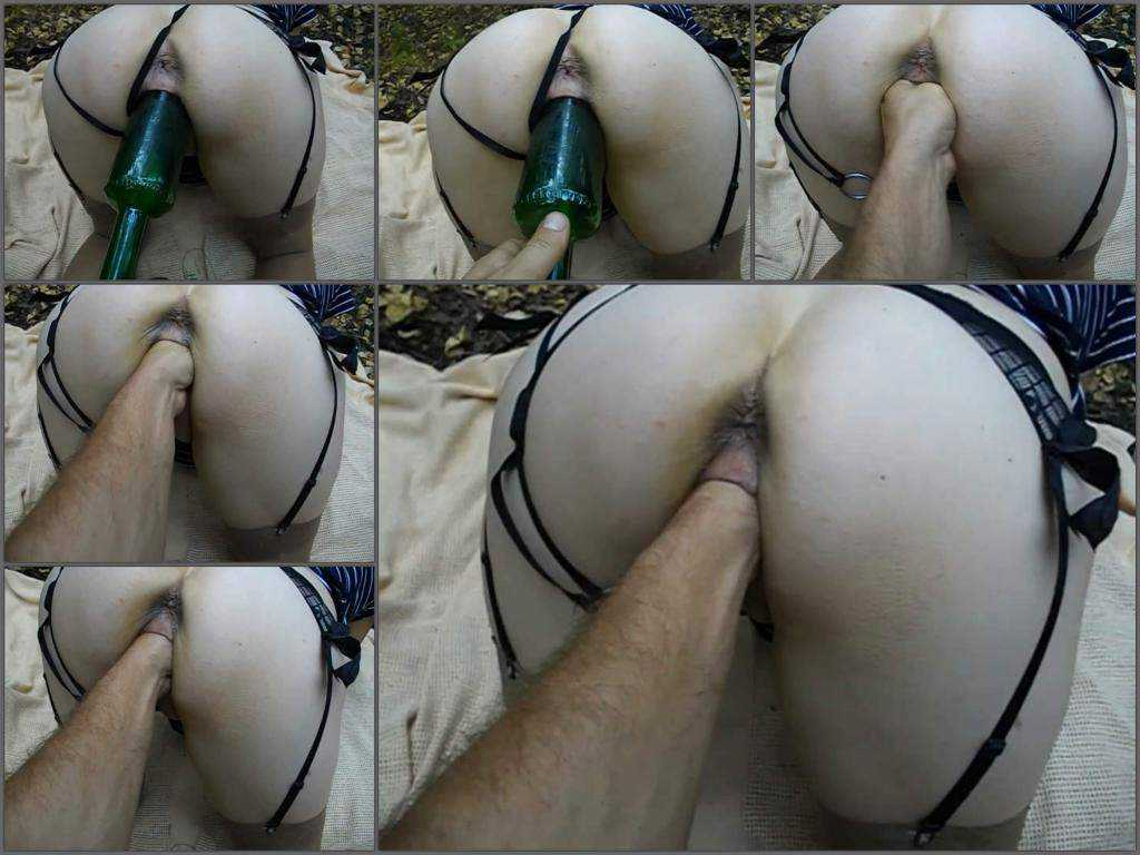 Fisting outdoor – Amateur wife outdoor gets fisted and wine bottle vaginal penetration