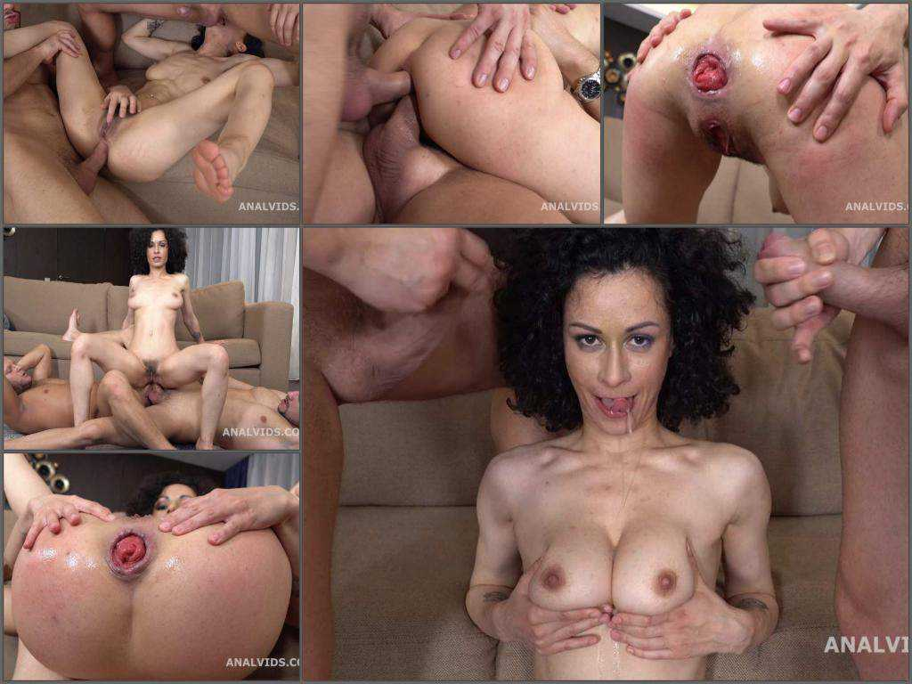 DAP – Curly pornstar Stacy Bloom anal prolapse show after rough DAP