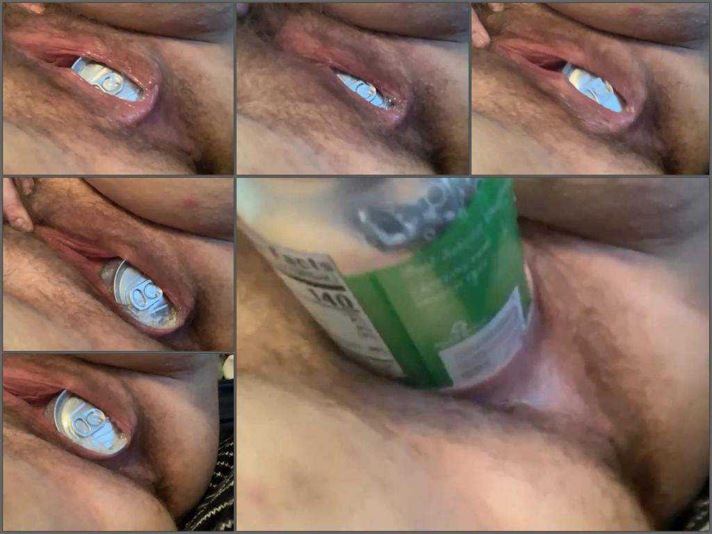 bottle in pussy,beer bottle in pussy,beer can penetration,beer tin penetration,bottle fuck,vaginal stretching,hairy pussy girl,hd xxx