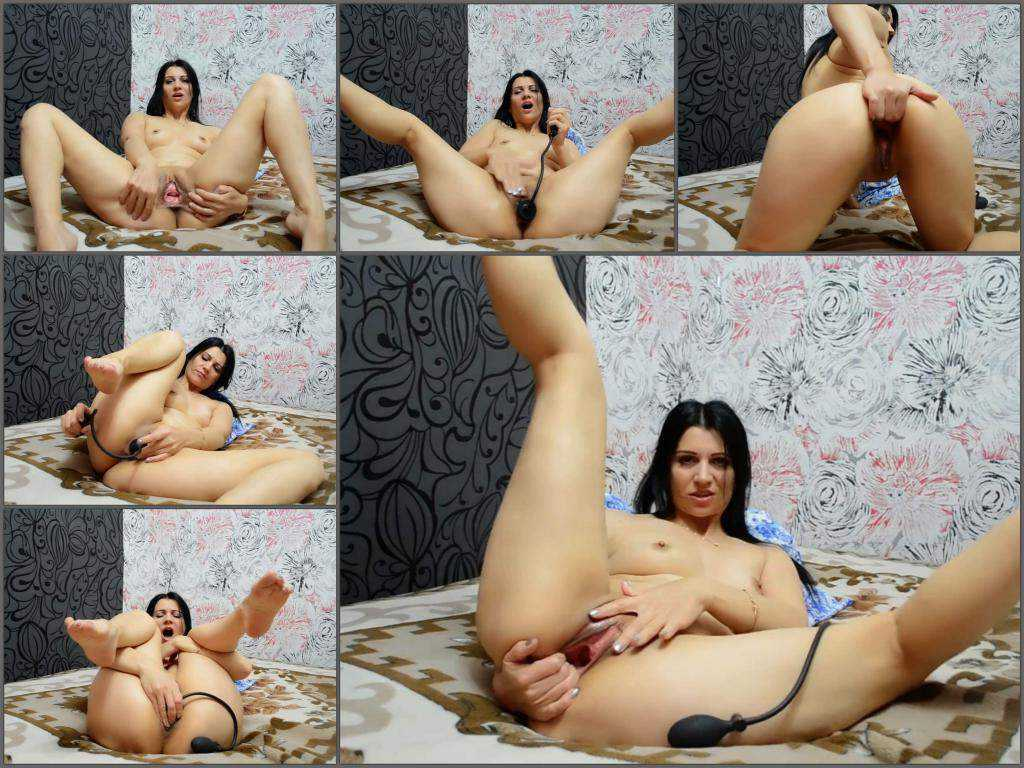 Inflatable dildo – Webcam horny russian brunette Kristinaslut insertion inflatable dildo vaginal