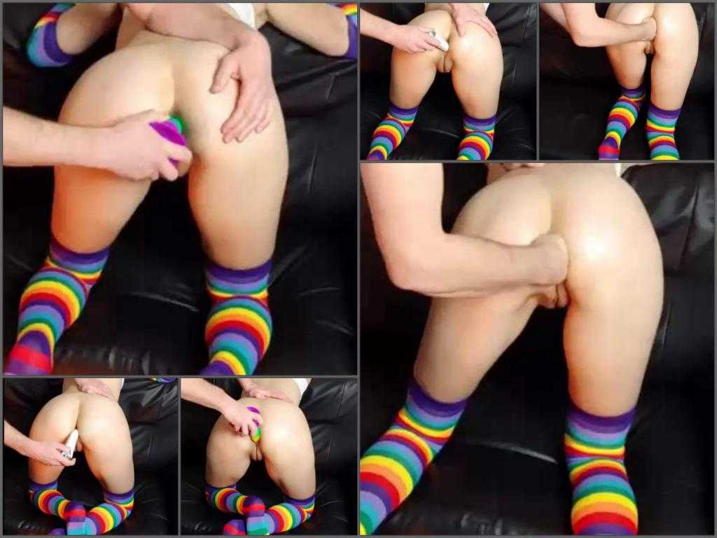 Couple fisting – Perfect rainbow dildo and fist penetration in narrow asshole my wife