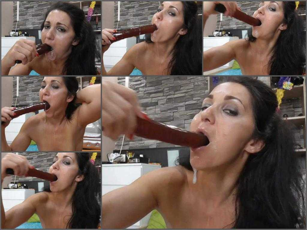 Throat gaggers – Hungarian BIackangel fully penetration long rubber dildo in her deepthroat