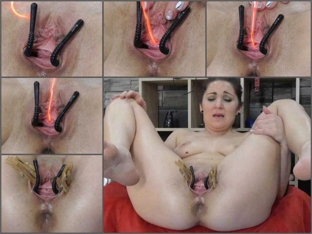 Pussy stretching – Closeup webcam electro clitoral stimulation with BIackangel