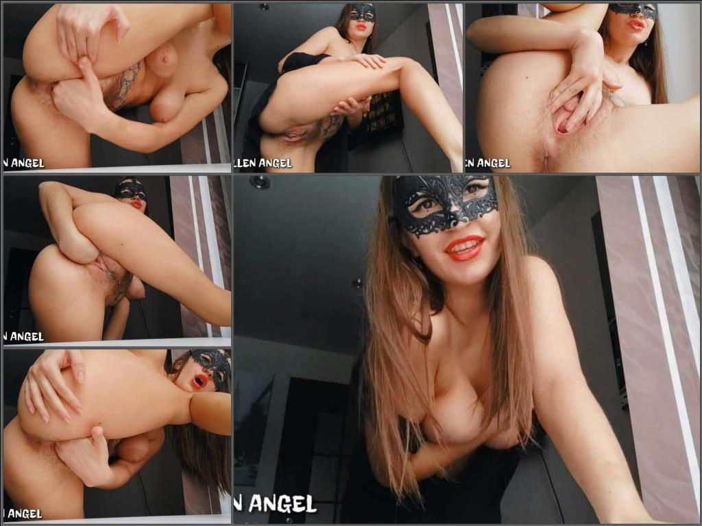 Pussy insertion – Amateur masked slut Fallen Angel fisted her hairy pussy gape