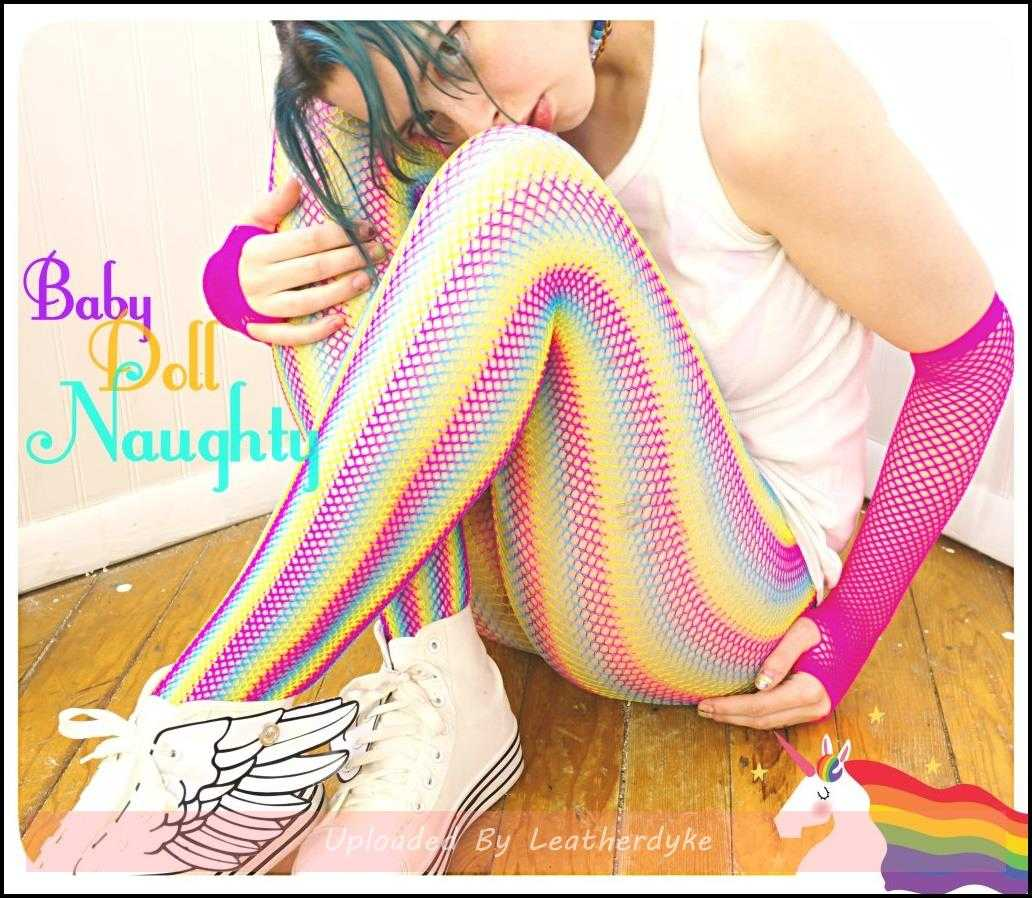 Rainbow Fishnets with BabyDollNaughty