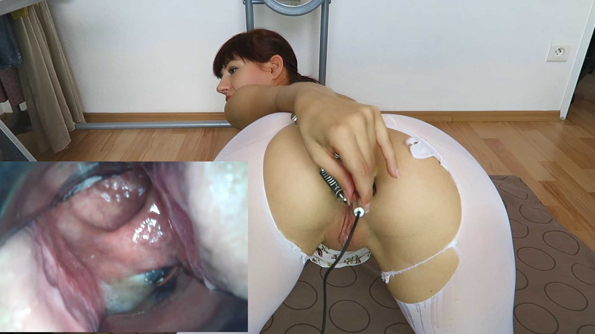 Camera inside pussy during cum